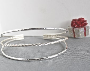 Large size sterling silver bracelet- Sterling silver jewelry- Silver cuff bracelet- Large bracelet- Christmas gift for her- Bohemian cuff