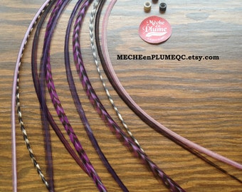 Feather Extension /Hair and Craft /5 Bonded feathers Lilas Rose