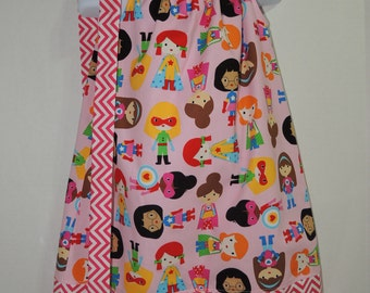 Girl Pillowcase Dress - Supergirls on Pink - Pink Chevron- Party Dress-Girl Dress-Ready to Ship!! size 5T