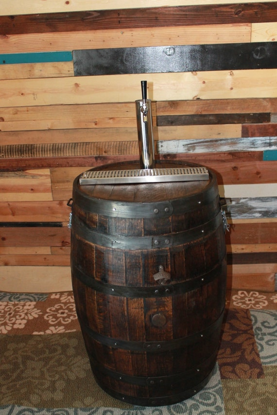 Whiskey Barrel Mobile Beer Serving Bar With By