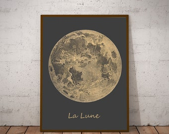 Vintage Moon Print Full Moon Lunar Wall Art Moon Poster