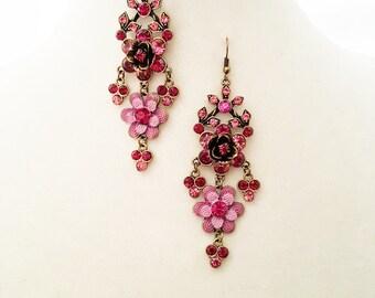 Chandelier Earrings, Pink Floral Chandelier Earrings