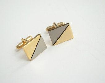 Vintage gold plated cufflinks, geometric cufflinks, silver and gold cufflinks