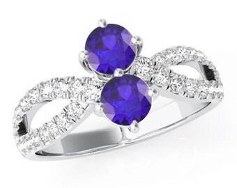 Double Tanzanite & Diamond Split Shank Ring 14k White Gold- Engagement Rings - Promise Rings, Tanzanite Jewelry - Raven Fine Jewelers