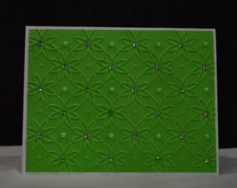 SALE!! Embossed flower card set with pearls and rhinestones