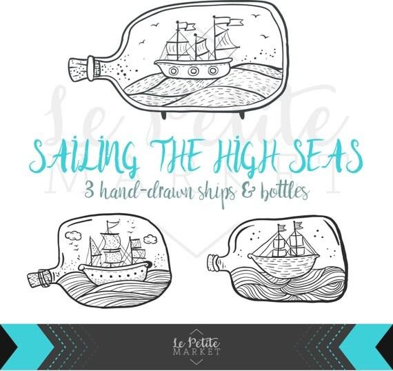 Cute Hand Drawn Digital Ships In Bottles Clip Art Sailing The