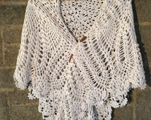 Hand made silk blend crochet lace square / triangle - shawl / throw  - Soft white natural bamboo & silk  - heirloom - christening - bride