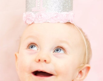 Silver and Pink Birthday Crown - Glitter Crown