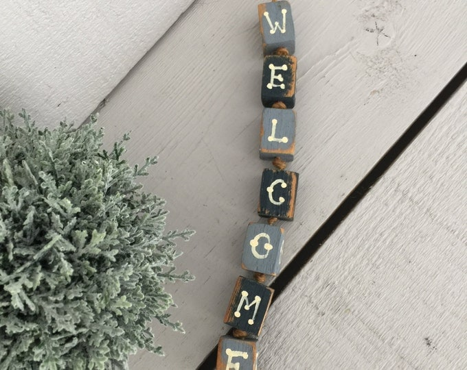 Rustic Wooden Letters Welcome Sign,  Letters on Jute String, Welcome Sign Door Hanger, New Home Gift