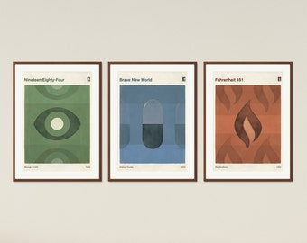 Dystopian Novels - Large Book Cover Poster, Literary Gift, Minimalist Poster, Dystopian Sci Fi Art, Instant Download