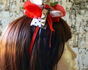 Roses Red Playing Cards Headband- Alice in Wonderland, Tea Party, Queen of Hearts, Mad Hatter, Poker, Costume, Headpiece, Hair Accessory