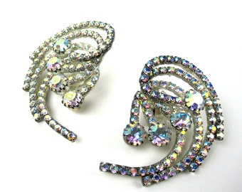 Vintage Clear Iridescent Rhinestone Clip On Earrings, Swirl Pattern, 1960s