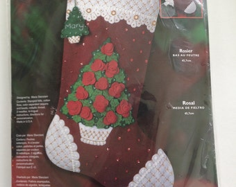 "BUCILLA 2003 Felt Christmas Stocking Kit~Christmas Stocking~Felt Stocking Kit~Christmas Craft~""ROSE TREE""~Stocking Kit~Needlework~Fancy Sock"