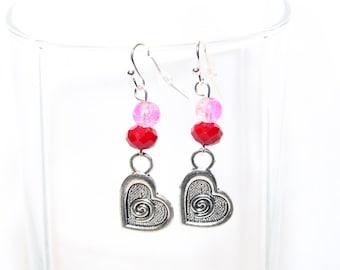 Silver Heart Earrings - Pewter Charm Earrings - Love Earrings - Valentine Jewelry