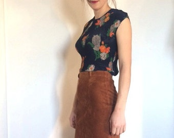 1990s Popcorn Pleated Grunge Floral Top