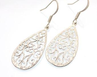 Silver Teardrop Earrings | Silver Lace Earrings | Lace Teardrop | Dangle Earrings