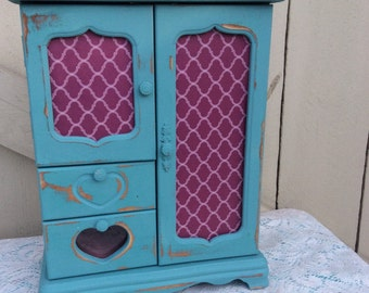 Shabby Chic Armoire Jewelry Box Decoupaged Front and Top