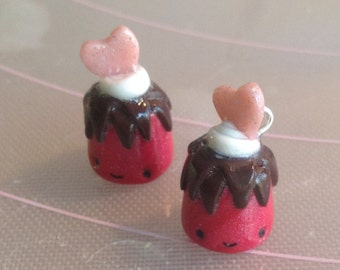 red, polymer clay, kawaii, pudding, dangle earrings