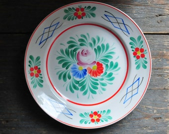 Rose Porcelain Wall Plate, Wall Hanging Plate, Floral Decorative Plate, Vintage Porcelain Plate, Cottage Chic Plate, Floral Plate