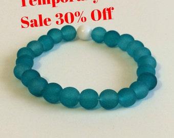 30% Off! Turquoise 8mm Glass Men's Stretch Bracelet Blue Stacking Homme Beaded Jewelry Abundance Lokai Stackable Bracelets Men Gift Idea