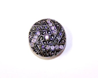 SNAP Chunk Button -Design w/Rhinestones -  Snap Button 18 - 20mm