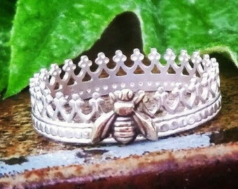 Queen Bee Ring, Sterling Silver, Stackable Rings, Beekeeper Gift, Layered, Customized, Name Rings, Band, Crown Ring, Bumble Bee, Honey Bee