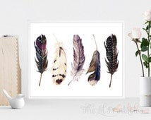 Feather Set Printable, Feather Printable, Tribal Wall Print, Boho Wall Art, Home Wall Decor, Feathers Printable, Bird Feathers Print