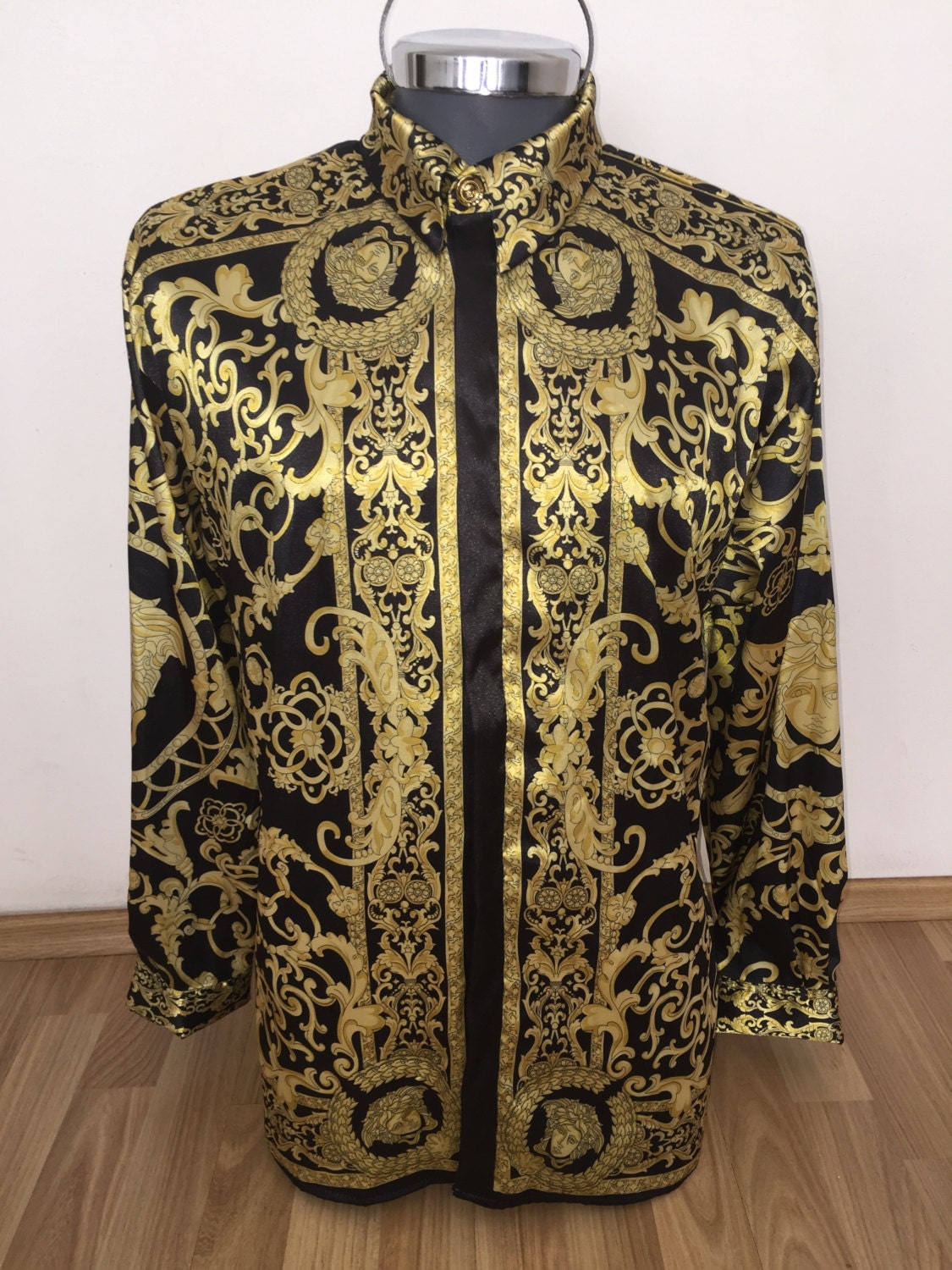 gianni versace silk shirt hermes silk shirt by silkbarrococouture. Black Bedroom Furniture Sets. Home Design Ideas