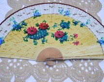 Large French Floral Hand Fan. Vintage Folding Hand Fan. French Boudoir Wall Décor