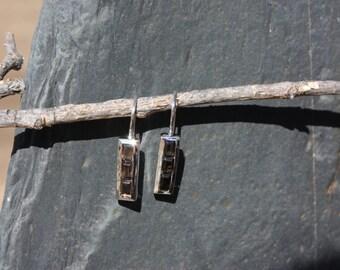 Smoky Quartz & Sterling Silver Earrings - #174