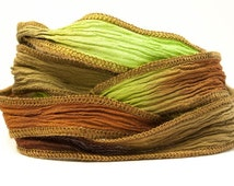 Marsh Coffee Handmade Silk Ribbon - Chocolate Brown, Light Brown and Moss Green with Dark Brown Edges - 762