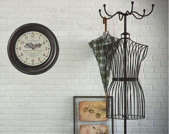 Large Wall Clock - Dark Brown Vintage Wall Clock - 16x16 Inches -