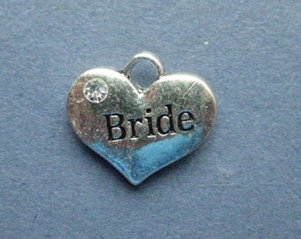 5 Bride Charms - Bride Pendants - Bride - BrideCarved Charm - Antique Silver - 16mm x 14mm -- (A6-11147)