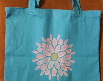 Pink Flower with Gold Center Blue Shopping Tote