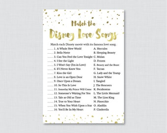 Gold Love Songs Match Game - Printable Gold and White Bridal Shower Disney Love Song Game - White and Gold Foil Bridal Shower Game 0010-G