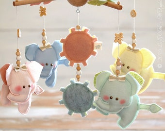 Elephant Baby Crib Mobile, Elephant Crib Mobile Girl, Personalized Baby Boy Gift, Baby Boy Mobile, Baby Nursery Mobile, FREE SHIPPING, el10