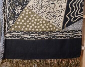 Woolen Scarf/Shawl - Black/Gold/Beige