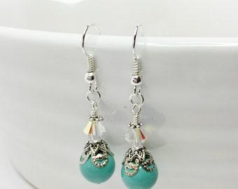 Jade Pearl Drop Earrings Crystal Dangles Swarovski Crystal Earrings Jade Bridesmaid Gift Vintage Style Drops Mother of the Bride Gift
