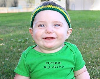 Green and Yellow Oregon Headband / Oregon Ducks Baby Headband / Duck Football Boy Headband / U of O Duck Kid Headband / Oregon Baby Gift