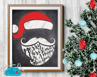 Christmas Printable Sign 8x10 - Santa Decoration Sign - Winter Party Decorations - Chalkboard Winter - Printable Christmas Decorations
