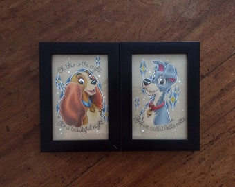 """A Pair of Framed 6"""" x 4"""" Colourful Lady & The Tramp Original Pencil Drawings // Home Decor // Disney Art // Gift for Female"""