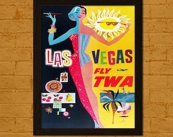 Get 1 Free Print *_* Las Vegas Travel Print - Vintage Travel Poster Retro Travel Wall Art Las Vegas Poster Home Decor Gift Idea Twa Poster