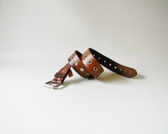 Vintage Brown Leather Belt