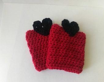 Girls red boot cuffs, Heart boot cuffs, Heart boot socks, Girls leg warmers,