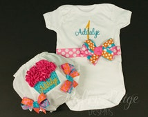 Hot Pink Turquoise Orange Birthday Ruffle Cupcake PERSONALIZED Baby Girl Bodysuit Onesie Diaper Cover Set Ribbon Bows MONOGRAM Made To Order