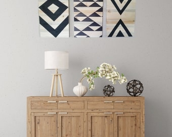 Set of 3 Geometric Design on Light and Gray Wood