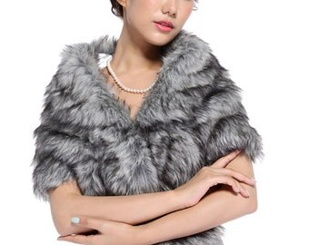 HailieBridal Women's Gray Sleeveless Faux Fur Bride Bridesmaid Wedding Shawl