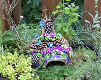 Fairy House or Toad House Gourd and Pinecone one of a kind