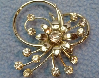 SALE!! Vintage Silvertone Rhinestone Brooch Pin-Flower with a Flourish! (was 10.00)