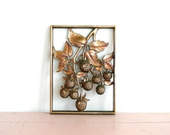 Vintage Metallic Gold Syroco Berry Wall Hanging
